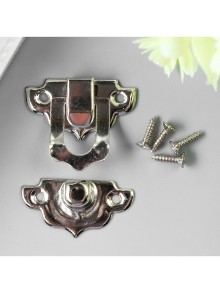 Замок декоративный  для шкатулки,серебро + шурупы. 2,9х3 см