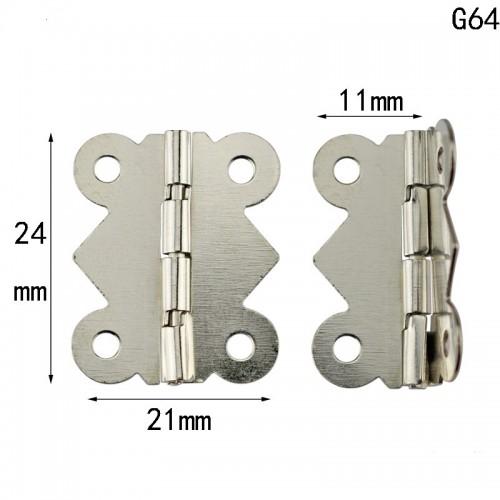 Петля для шкатулок 24*21мм (фигурная)с шурупами, 2шт,цв-серебро