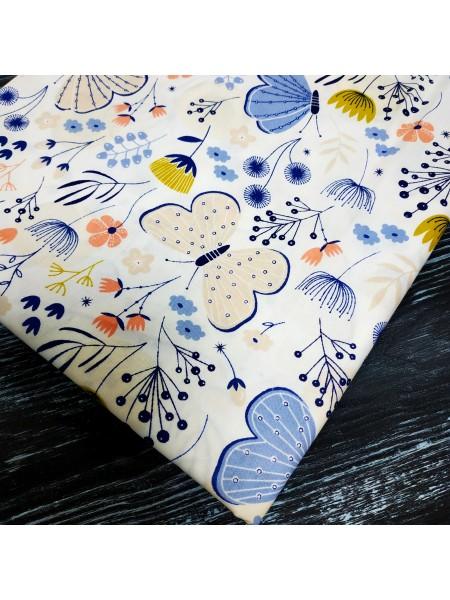 Отрез (сатин) - Бабочки голубые,50*50 см.цена за отрез