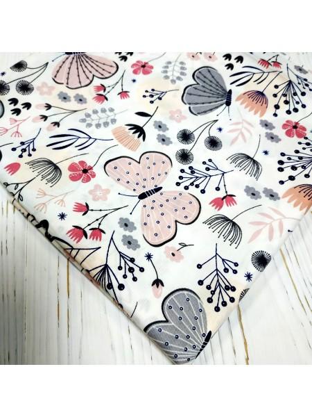 Отрез (сатин) - Бабочки розовые,50*50 см.цена за отрез
