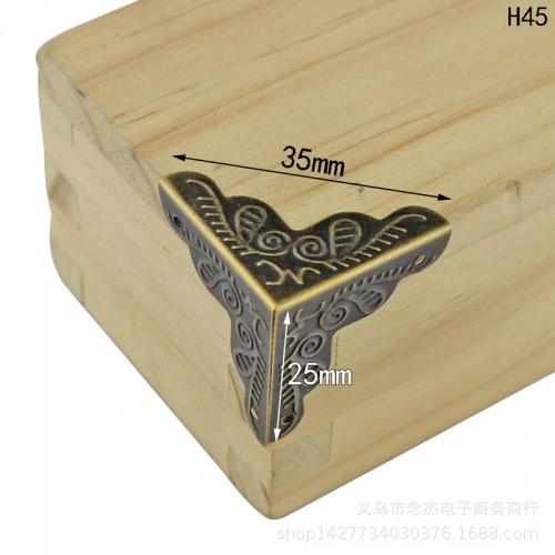 Уголки для шкатулок 25*25*25 мм с гвоздиками, 4шт бронза