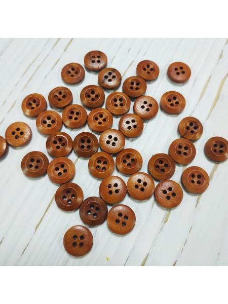 Пуговицы деревянные окрашенные, цв коричневый,13 мм, цена за 1 шт