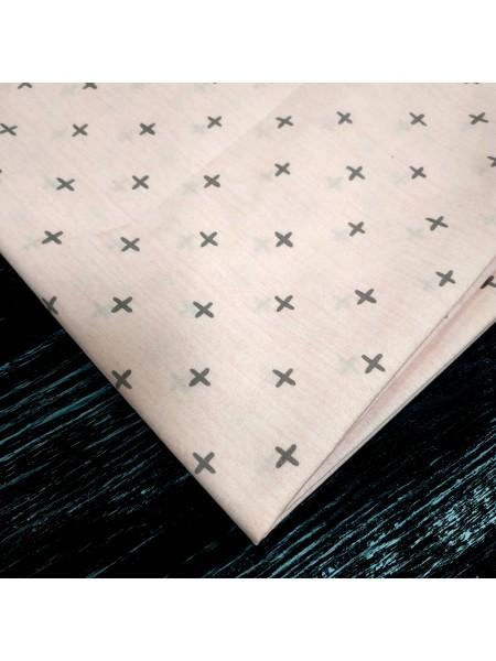 Отрез (сатин) - Крестик на розовом,50*50 см.цена за отрез