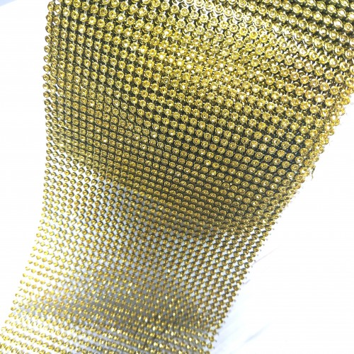 Лента стразовая МЕЛКАЯ, пласик цв. золото, цена за 10 см