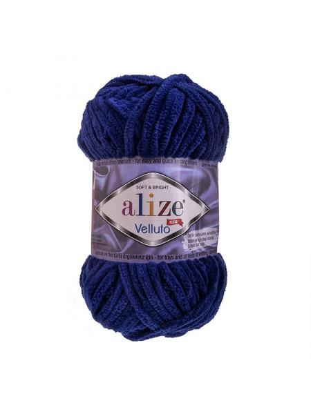 Плюшевая пряжа Ализе Веллюто Velluto,тёмно-синий,№360, 100гр