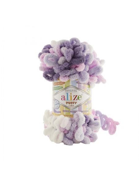 Пряжа Alize Puffy Color,цв-6305-цв-белый-сиреневый-розовый  ,100 гр-9 м