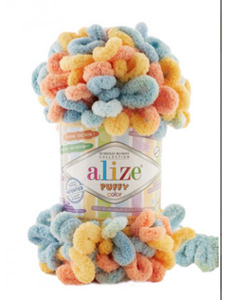 Пряжа Alize Puffy Color,цв-6314-цв-желтый.оранжевый.голубой  ,100 гр-9 м