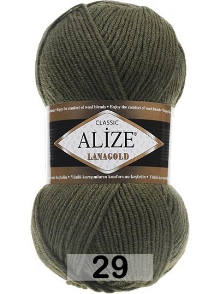 Пряжа Alize-Ланаголд (Lanagold) цв-29(темно-зелёный,хаки)