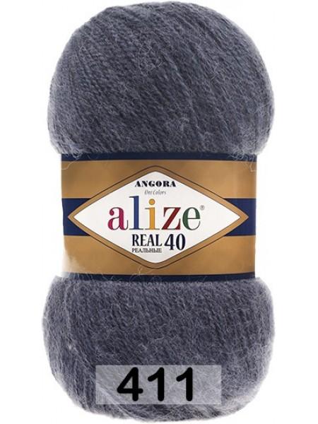 Пряжа Ализе Ангора реал 40,цвет 411-цв. джинс меланж