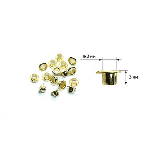Люверсы-МИНИ д- 3мм высота 3мм уп. 30шт, цв.золото