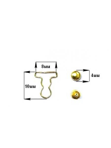 Застежка для комбинезона мини- уп.2 пары,для кукол цв-золото