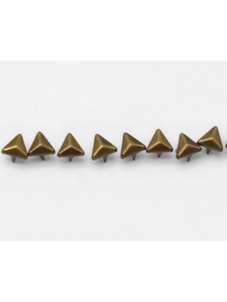 Декоративные заклёпки, Шип-треугольник цв-бронза,6 мм ,цена за 20шт