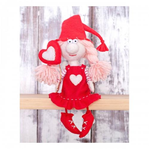 Набор для изготовления текстильной игрушки из фетра ' Валентинка', 15,5см,