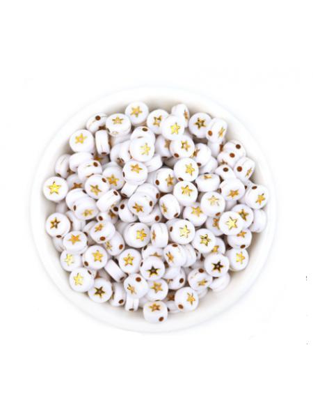 Бусины акрил. золотые звездочки на белом,7*4 мм (24-25шт)