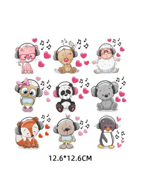 Наклейки кукольные-  Набор животных-нотки,цена за набор