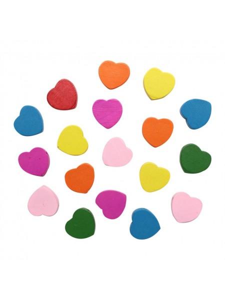 Бусины деревянные, цветной микс,сердечки,16*16мм, 18гр/упак