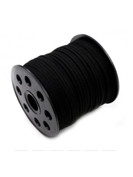 Шнур из замши для украшений, чёрный Цена-за 1 м