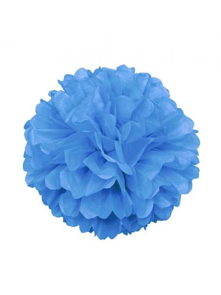 Бумажный помпон, 20*36 см, цв-синий