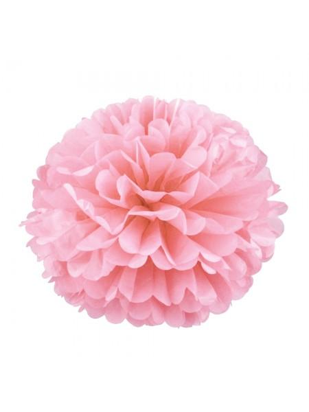 Бумажный помпон, 20*36 см, цв-розовый пастельный
