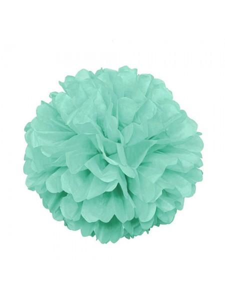 Бумажный помпон, 20*36 см, цв-зелёный пастельный