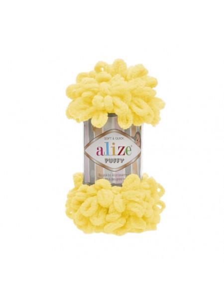 Пряжа Alize Puffy ,цв ярко-желтый ,100 гр-9 м
