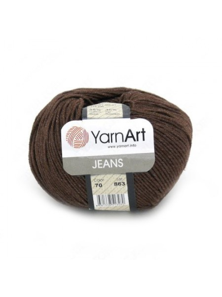 "Пряжа  YarnArt ""Jeans Джинс""цв. 70, коричневый"