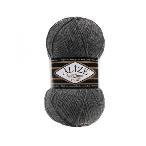 Пряжа Alize Superlana Klasik,№182,цв-средне-серый меланж,100гр-280 метров
