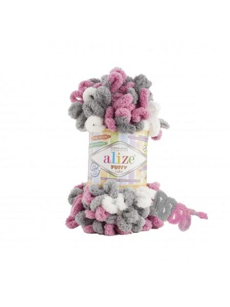 Пряжа Alize Puffy Color,цв-розовый-серый,№6070  ,100 гр-9 м
