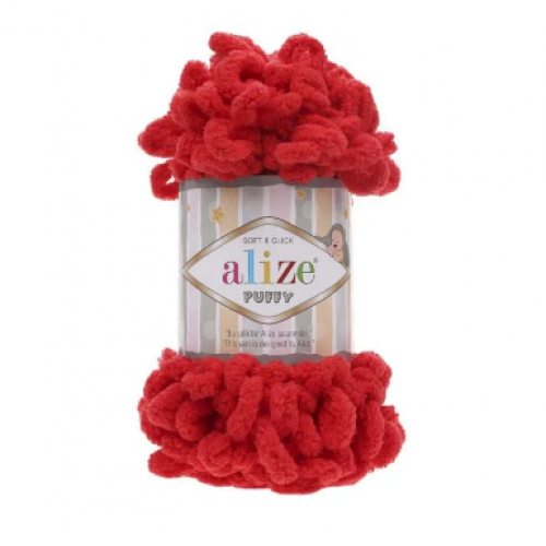 Пряжа Alize Puffy ,цв-красный  ,100 гр-9 м
