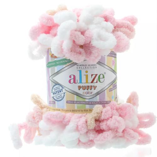 Пряжа Alize Puffy Color,цв-розовый-беж,№6046  ,100 гр-9 м