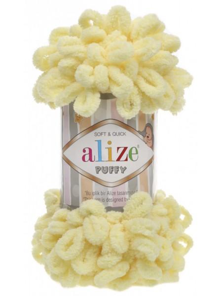 Пряжа Alize Puffy-цвет нежно-лимонный,100 гр-9 м