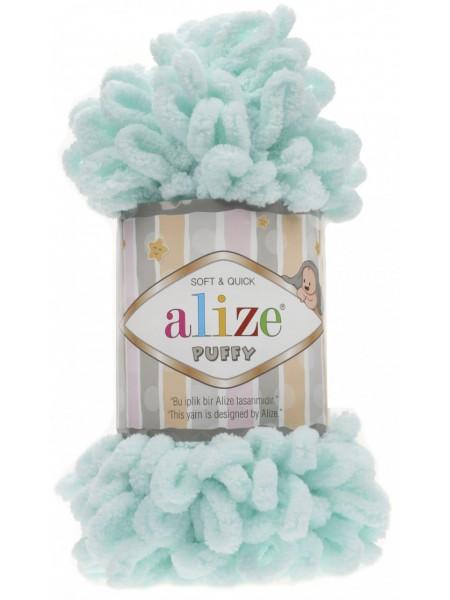 Пряжа Alize Puffy-цвет голубая мята,100 гр-9 м