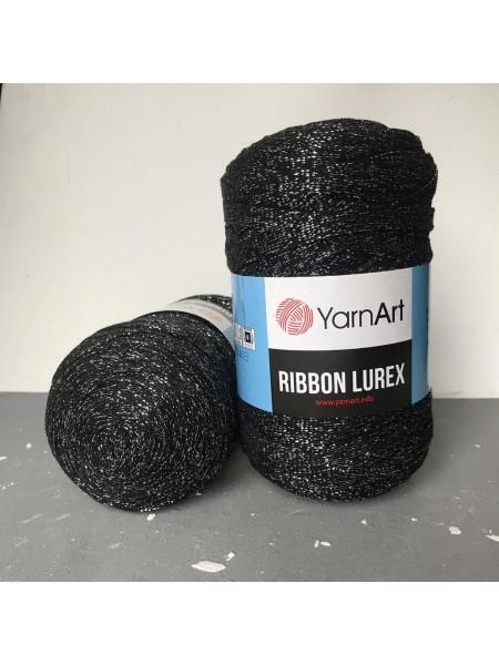 Пряжа Ribbon Lurex (Риббон Люрекс) 250гр - 125м (Чёрный с серебром),№723