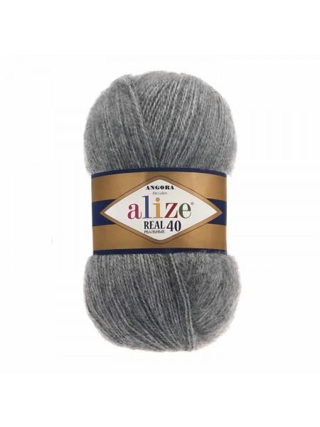 Пряжа Ализе Ангора реал 40,цвет 182 -т-серый