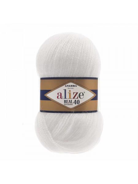 Пряжа Ализе Ангора реал 40,цвет 55 -белый