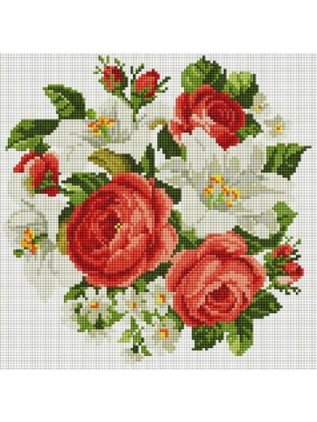 Набор Белоснежка для изготовления картин со стразами на подрамнике-Розы и лилии,30х30см,23 цв.