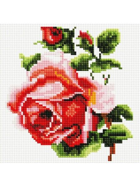 Набор Белоснежка для изготовления картин со стразами на подрамнике-Изящная роза,20 * 20 см,21 цв.