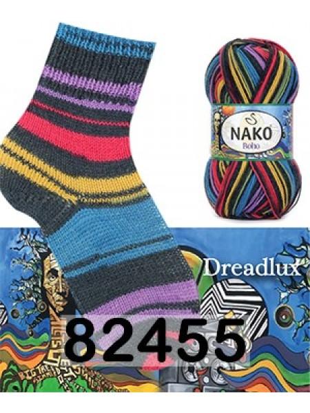 Носочная пряжа BOHO NAKO (БОХО НАКО)- 82455