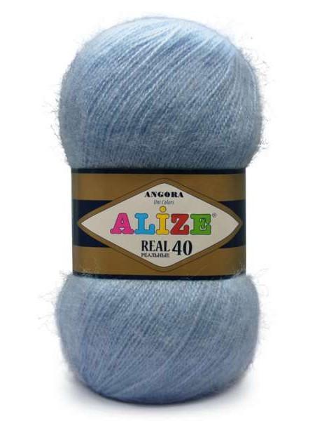 Пряжа Ализе Ангора реал 40,цвет 40-голубой