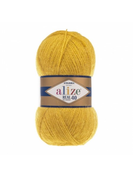 Пряжа Ализе Ангора реал 40,цвет 488, тёмно-жёлтый