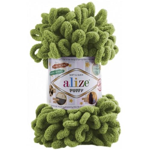 Пряжа Alize Puffy-цвет зелёный,100 гр-9 м