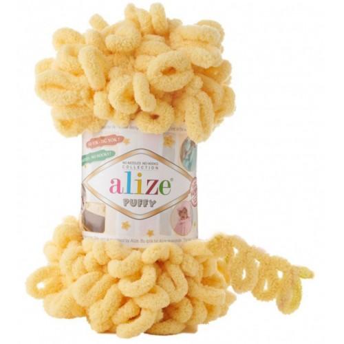 Пряжа Alize Puffy-цвет тёмно-желтый,100 гр-9 м
