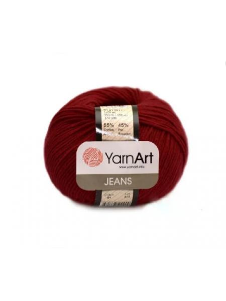 "Пряжа  YarnArt ""Jeans Джинс""цв. 51, вишнёвый"