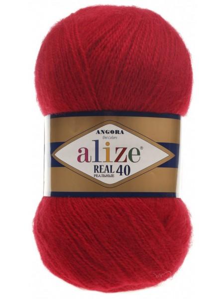 Пряжа Ализе Ангора реал 40,цвет 56 -красный