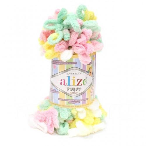 Пряжа Alize Puffy Color,цв-5862-цв-радужный  ,100 гр-9 м