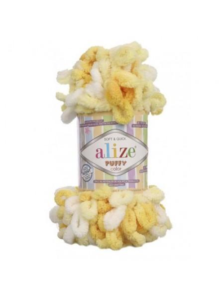 Пряжа Alize Puffy Color,цв-5921,цв-желто-белый  ,100 гр-9 м