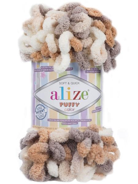 Пряжа Alize Puffy Color,цв-5926цв-молочный-коричневый  ,100 гр-9 м