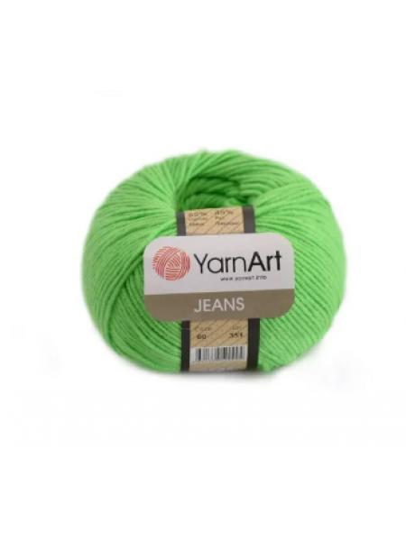 "Пряжа  YarnArt ""Jeans Джинс""цв. 60, ярко-зелёный"