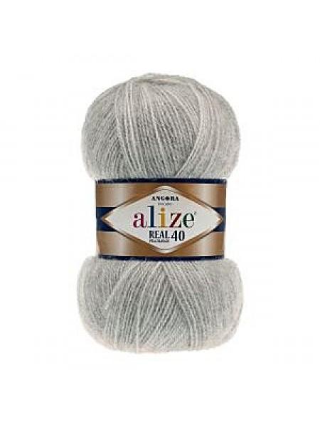 Пряжа Ализе Ангора реал 40,цвет 614 -серый меланж