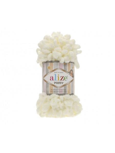Пряжа Alize Puffy-цвет молочный,100 гр-9 м